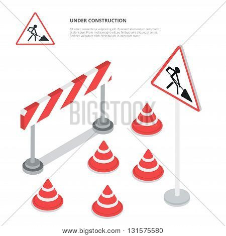 Under construction. Road sign, triangle cap, barrier. Flat 3d isometry isometric style web site app icon set concept vector illustration.