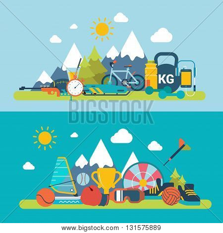 Mountain fresh air scene outdoor sports winter summer exercise web site banner hero image set. Flat style modern vector illustration. Sports collection.