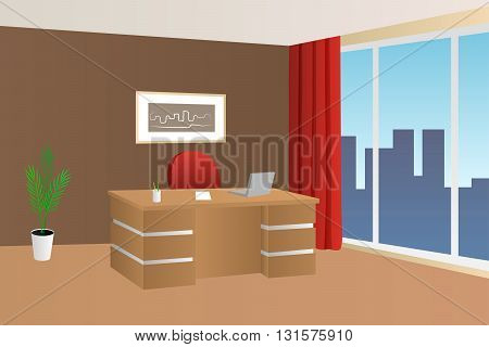 Office room beige brown red interior table chair window illustration vector