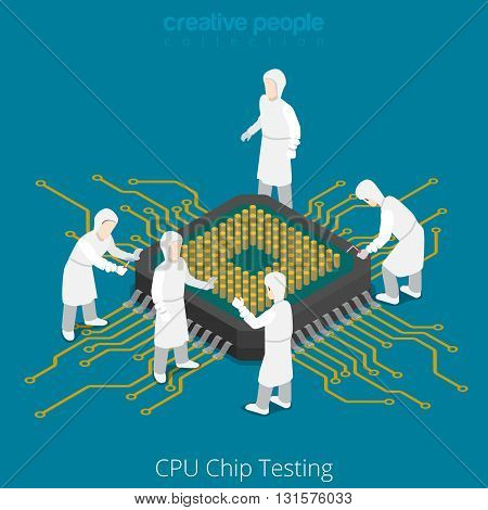 CPU chip socket testing repair service. Serviceman checkup soldering computer component. Flat 3d isometry isometric style web site app icon set concept vector illustration. Creative people collection.