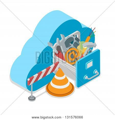 Cloud service under construction. Cloud shape drawer wrench screwdriver hammer wire cogwheel cap barrier. Flat 3d isometry isometric style web site app icon set concept vector illustration.