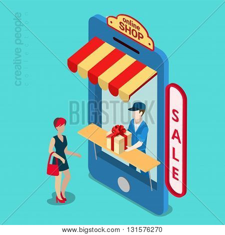 Online mobile shop store sale delivery shopping concept. Showcase in smartphone screen. Flat 3d isometry isometric style web site app icon set concept vector illustration. Creative people collection.