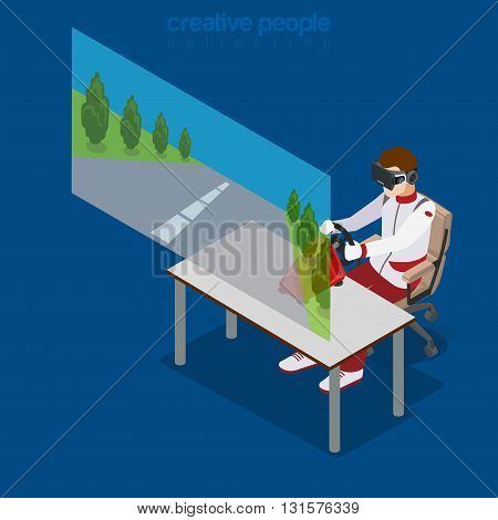 Virtual Reality VR Glass Cinema flat isometric vector 3d
