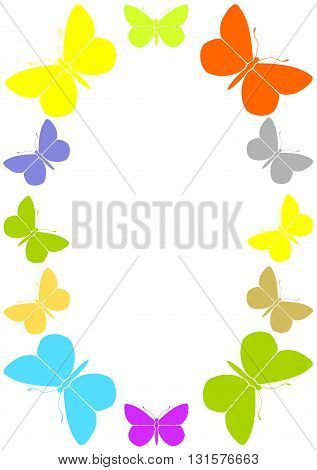 Colourful frame with butterflies  - vector illustration