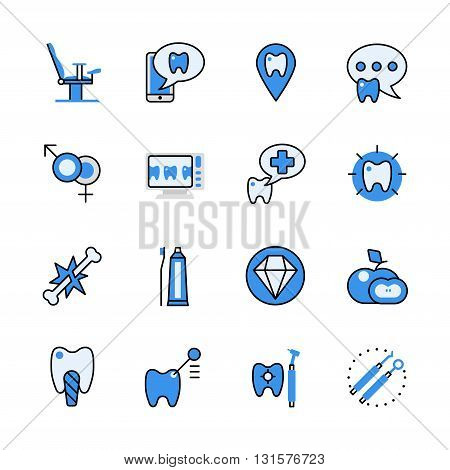 Dental dentist tool lineart flat vector icon set app interface