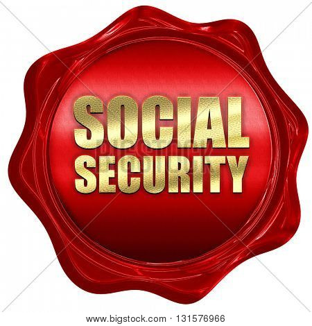 social security, 3D rendering, a red wax seal