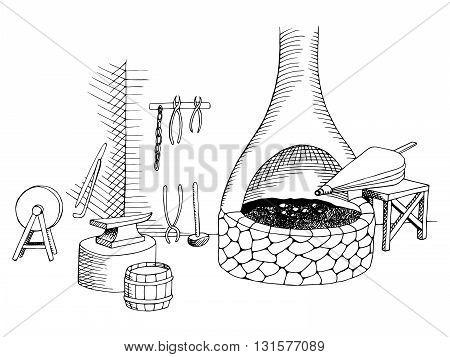 Smithy graphic art black white illustration vector