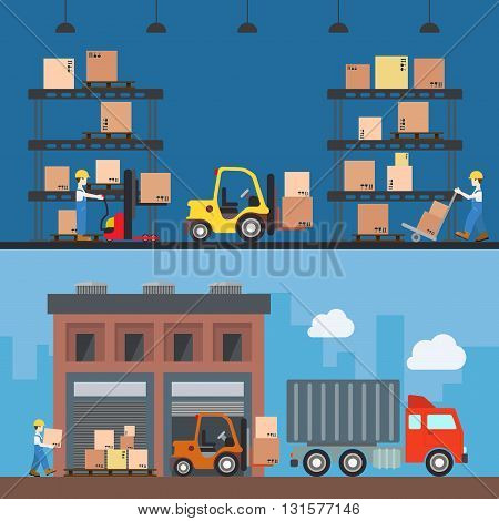 Warehouse delivery storage building interior exterior indoor outdoor loader loading worker wheel fork box crate package rack concept web site illustration. Flat style website creative vector template.