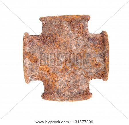 Rusty Metallic Pipe Adapters. Isolated On White Background