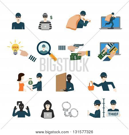 Crime criminal business robber thief cybercrime professional profession worker staff userpic avatar creative people icon set. Flat style hacker rogue swindler con cheat phony faker app icons.