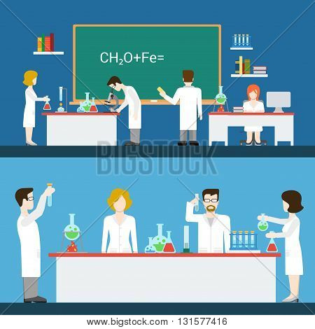 Chemical pharmaceutical laboratory lab interior people worker staff equipment tool indoor concept vector. Flat style website front view class room chemistry science doctor assistant scientist