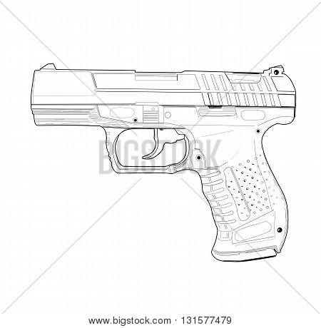 Weapon - pistol, drawing design - vector illustration.