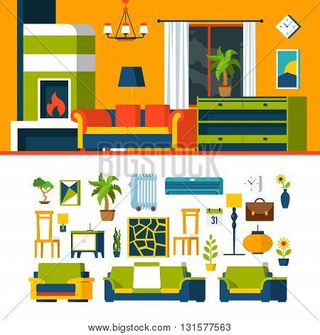 Living room constructor mockup template vector icon set