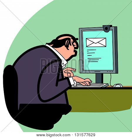 Businessman and a letter in the computer line art. E-mail. Working newsletter