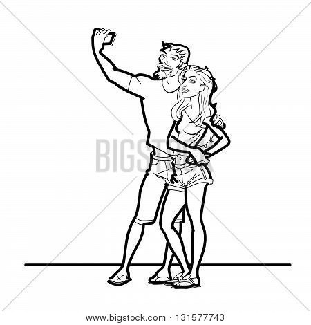 Couple man and woman selfie phone line art. The girl and her boyfriend are photographed on a smartphone. black and white line art
