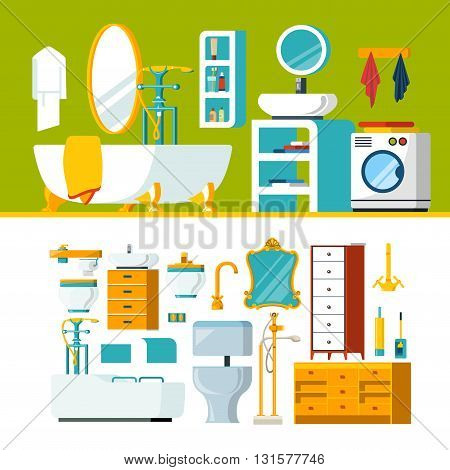 Bathroom interior object constructor template vector icon set