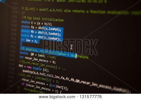 Programming Code On The Screen. Perspective. Shallow Depth Of Field