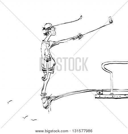 Funny selfie guy on the diving platform line art. New technologies and smartphone. Selfie stick. Black and white illustration for coloring