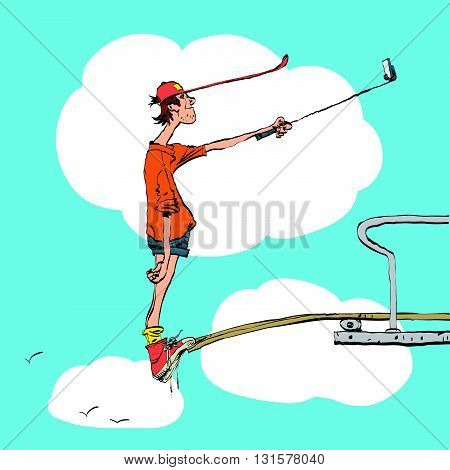 Funny selfie guy on the diving platform line art. New technologies and smartphone. Selfie stick