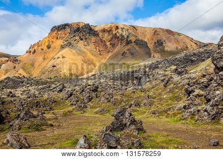 Summer trip to Iceland. Valleys and mountains with volcanic lava Lanmannalaugar National Park