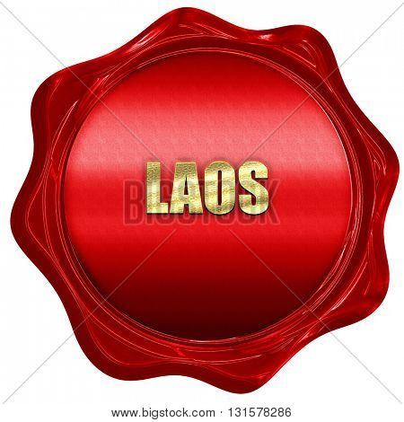 Laos, 3D rendering, a red wax seal