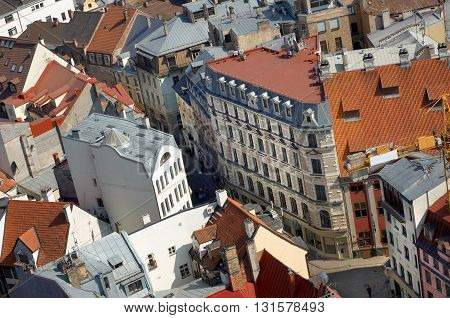 Latvia. Riga aerial view of old town narrow streets.