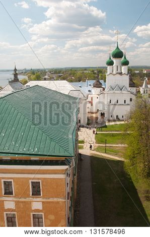 ROSTOV RUSSIA MAY 08. 2016: - Rostov the Great in spring view to the kremlin from the Water tower The Church Of St. John The Evangelist. The Golden Ring of Russia