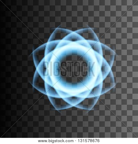 Abstract light flower. Blue bright lines. Lightning vector effect. Transparent background.