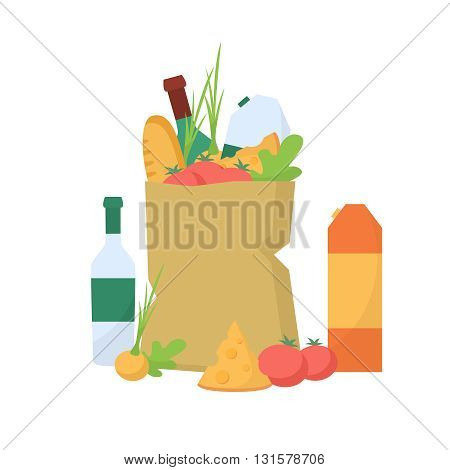 Paper package with fresh fresh vegetables and healthy produce. Organic products. Flat food vector.