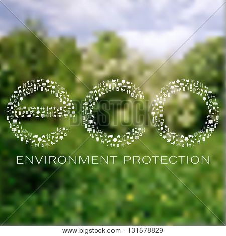 Icons of ecology and environment made eco sign on the blur nature background due to environment protection day