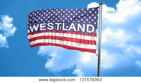 westland, 3D rendering, city flag with stars and stripes