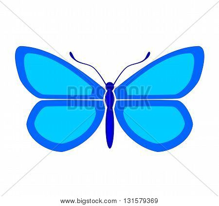 Blue big butterfly silhouette - vector illustration.