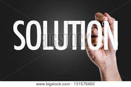 Hand writing the text: Solution