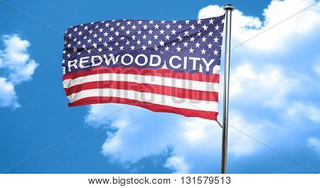 redwood city, 3D rendering, city flag with stars and stripes