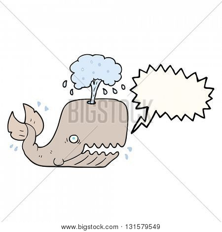 freehand drawn speech bubble cartoon whale spouting water