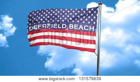 deerfield beach, 3D rendering, city flag with stars and stripes