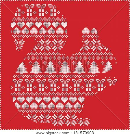 Scandinavian Norwegian style winter stitching  knitting  christmas pattern in  in squirrel  shape including snowflakes, hearts xmas trees c, snow, stars, decorative ornaments on red background