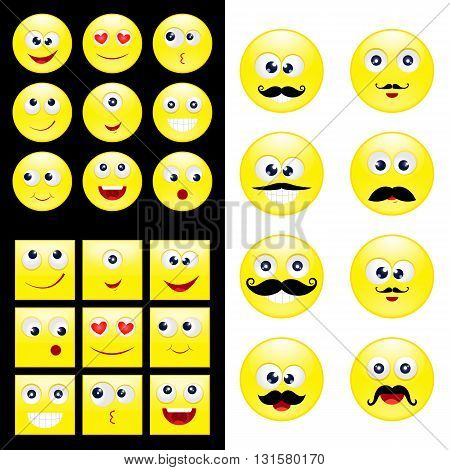 Big set round square emoticons with mustaches. Vector EPS 10 for your design and business