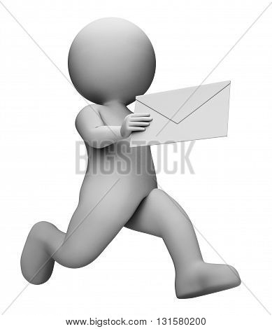 Message Letter Represents Communication Envelope And Mailing 3D Rendering