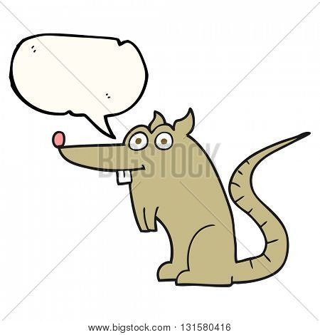 freehand drawn speech bubble cartoon rat