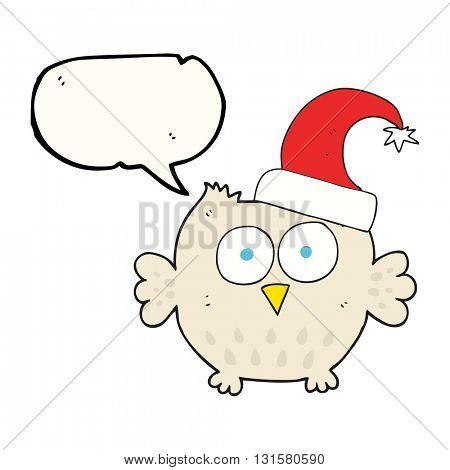 freehand drawn speech bubble cartoon little owl wearing christmas hat