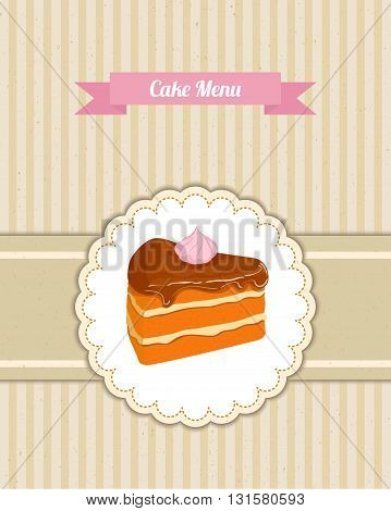 Vector pattern cover the desserts menu for cafe with a slice of chocolate cake. A slice of cake in a pink circle on beige  vintage background. Ideas for the design of cakes menu in retro style.