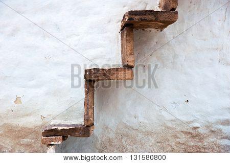 Wall with outside stairs, Aihole, Karnataka, India