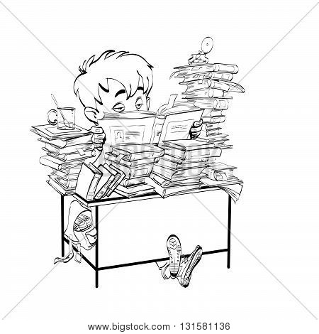 Literature, student boy reads books line art. The school and education. Literature and books. Black and white illustration for painting