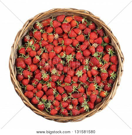Strawberry in basket on white background. Top view