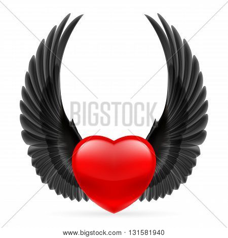 Red heart with black crow wings up.