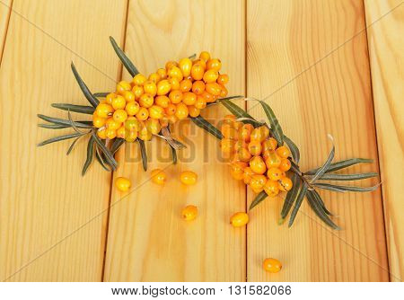 Bunches of ripe sea-buckthorn berries on a background of light wood.