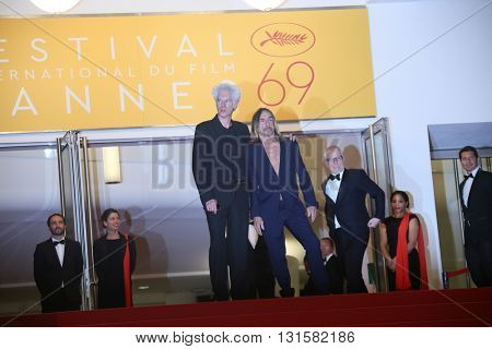 CANNES, FRANCE - MAY 19: Jim Jarmusch and Iggy Pop attends the 'Gimme Danger' Premiere during the 69th annual Cannes Film Festival at the Palais des Festivals on May 19, 2016 in Cannes, France.