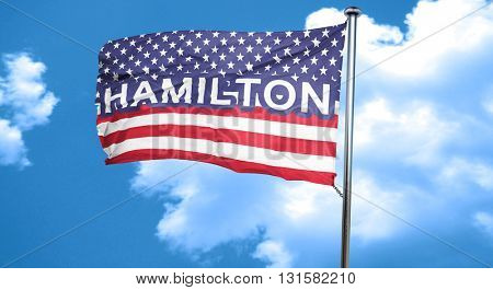hamilton, 3D rendering, city flag with stars and stripes
