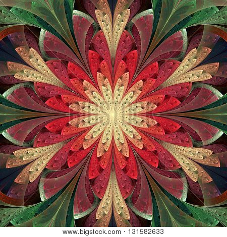 Multicolored symmetrical fractal flower in stained glass window style. Element of design. You can use it for invitations notebook covers phone case postcards cards and so on. Artwork for creative design.